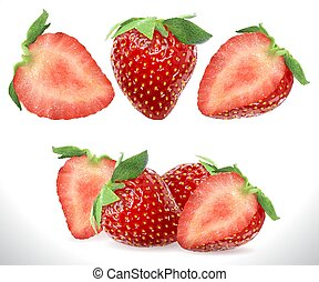 Strawberry Realistic Sweet Berry 3D fruit vector icons set. Realistic stock illustration