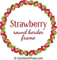 Strawberry round border frame.