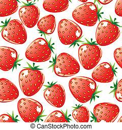 Strawberry seamless background - Ripe red strawberry...