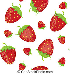Strawberry seamless pattern with white background. Vector...