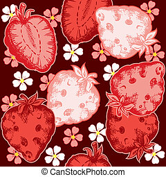 strawberry seamless - red vector strawberry seamless pattern