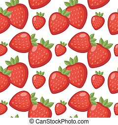 Strawberry seamless pattern. Berry endless background, texture. Fruits . Vector illustration