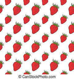 Strawberry seamless pattern illustration background. Fruit endless vector