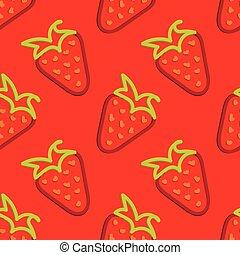 Strawberry Seamless Pattern Kid's Style Hand Drawn