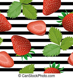 Strawberry seamless pattern. Ripe Strawberries on a striped black and white.