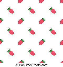 Strawberry. Seamless pattern with berries. Real outline drawing. Vector illustration.