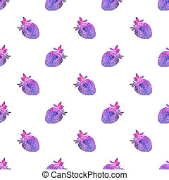 Strawberry. Seamless pattern with cosmic or galaxy strawberries. Hand-drawn original berry background.