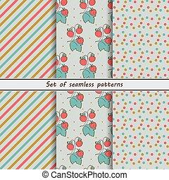 Strawberry, set of seamless pattern