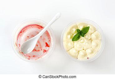 Strawberry shortcake desserts in plastic cups