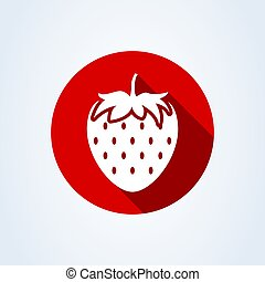 strawberry simple flat style. Vector illustration icon isolated on white background