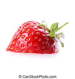 strawberry slice Isolated on white background