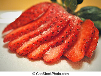 Strawberry slices - Sliced strawberry with sugar. Closeup; ...