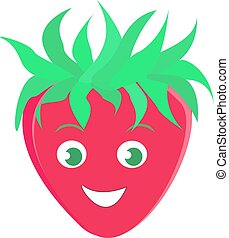 Strawberry smiling, illustration, vector on white background.