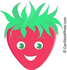 Strawberry smiling, illustration, vector on white background.