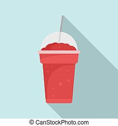 Strawberry smoothie icon, flat style