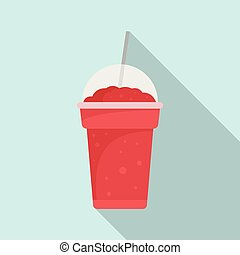 Strawberry smoothie icon, flat style