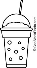 Strawberry smoothie icon, outline style