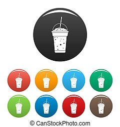 Strawberry smoothie icons set color