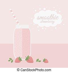 Strawberry smoothie in jar
