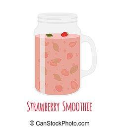 Strawberry smoothie in mason jar. Glass with vegetarian detox drink