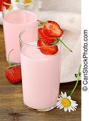 Strawberry smoothie milk cocktail