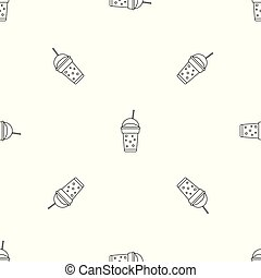 Strawberry smoothie pattern seamless vector