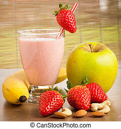 Strawberry smoothie refreshing fruit meal - healthy vegetarian food