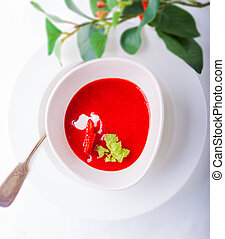 Strawberry soup on a table
