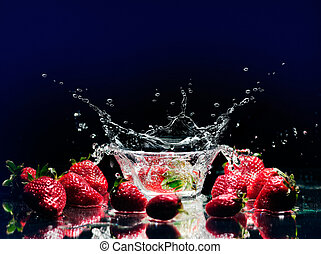 Strawberry splashing