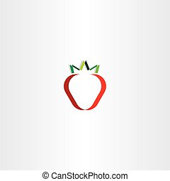 strawberry stylized vector icon