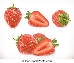 Strawberry. Sweet fruit. 3d icons set. Realistic illustration