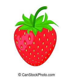 Strawberry icon isolated on White background, vector illustration.