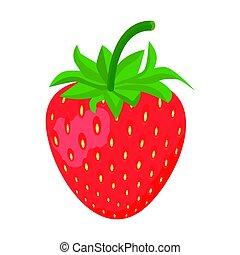 Strawberry icon isolated on White background, vector illustration.