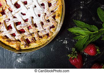 Strawberry sweet pie, baked pastry dessert