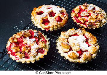Strawberry sweet pie, pastry dessert