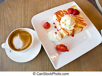Strawberry toast with Latte coffee