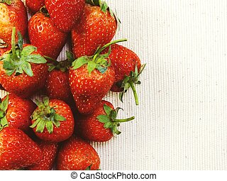 strawberry top view with copy space background