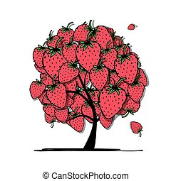 Strawberry tree, sketch for your design