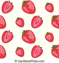 Strawberry. Vector seamless pattern. Floral hand drawn illustration with red berries isolated