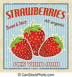 Strawberry vintage poster