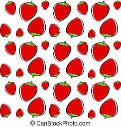 Strawberry wallpaper, illustration, vector on white background.
