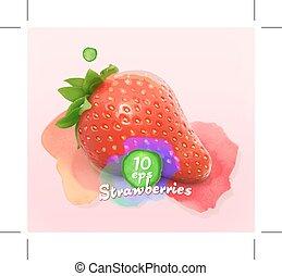 Strawberry watercolor illustration