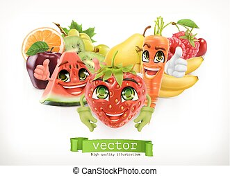 Strawberry, watermelon, carrot and juicy fruits. Funny cartoon characters. Kids food, 3d vector illustration
