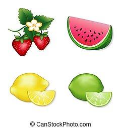 Strawberry, Watermelon, Lemon, Lime Fresh Fruit