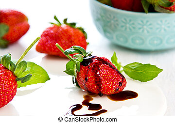 Strawberry with Balsamic sauce and basil