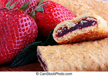 Cereal Bar - Strawberry with Cereal Bar in a wooden plate...