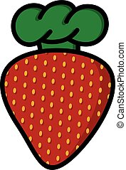strawberry with chef hat cartoon logo logotype theme
