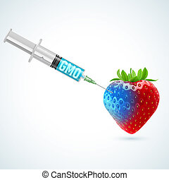 Strawberry with GMO - Fresh strawberry undergoing GMO...