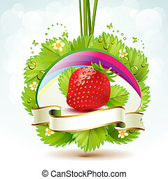 Strawberry with leafs and label
