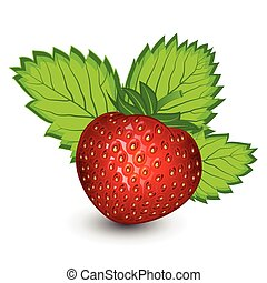 Strawberry with leaves isolated on a white background